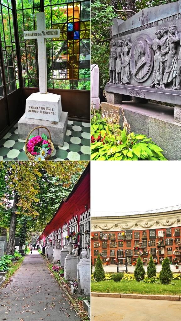 Sırasıyla: Çaykovski, Tolstoy mezarları ile bu mezarlıkta yatan ve külleri bulunan anıt mezarlar